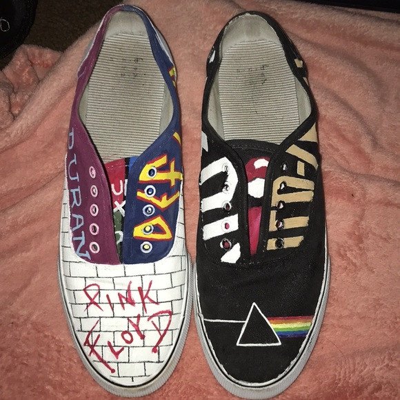 c2f6873809f11 Custom painted shoes with 80's rock band covers.